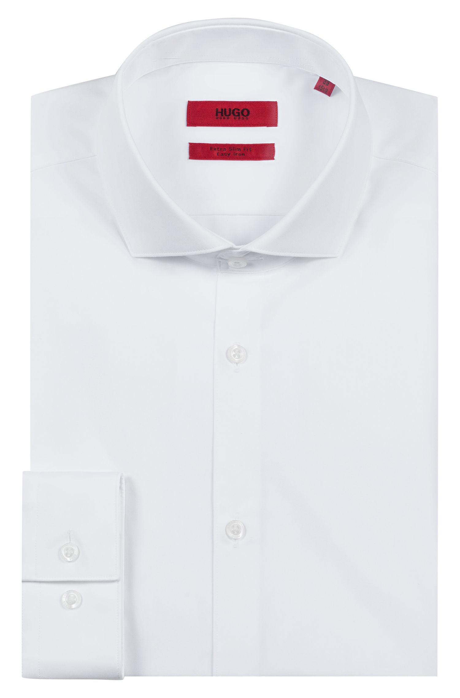 Extra Slim-Fit Hemd aus Baumwoll-Popeline, Weiß