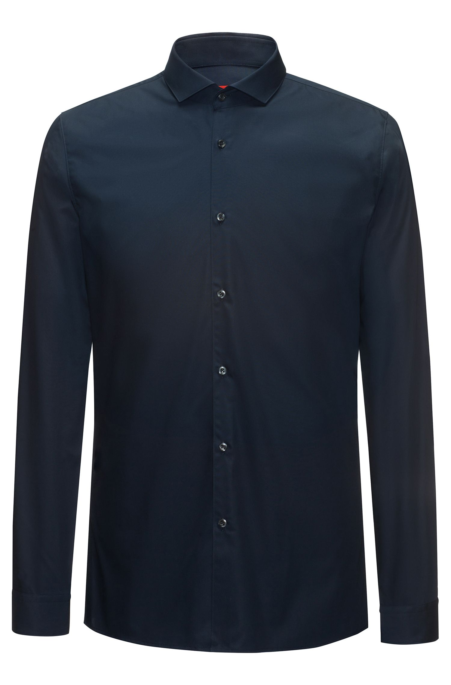 Camicia extra slim fit in popeline di cotone, Blu scuro