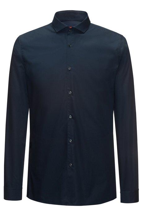 Extra-slim-fit shirt in cotton poplin, Dark Blue