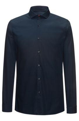 Camisa extra slim fit en popelín de algodón, Azul oscuro