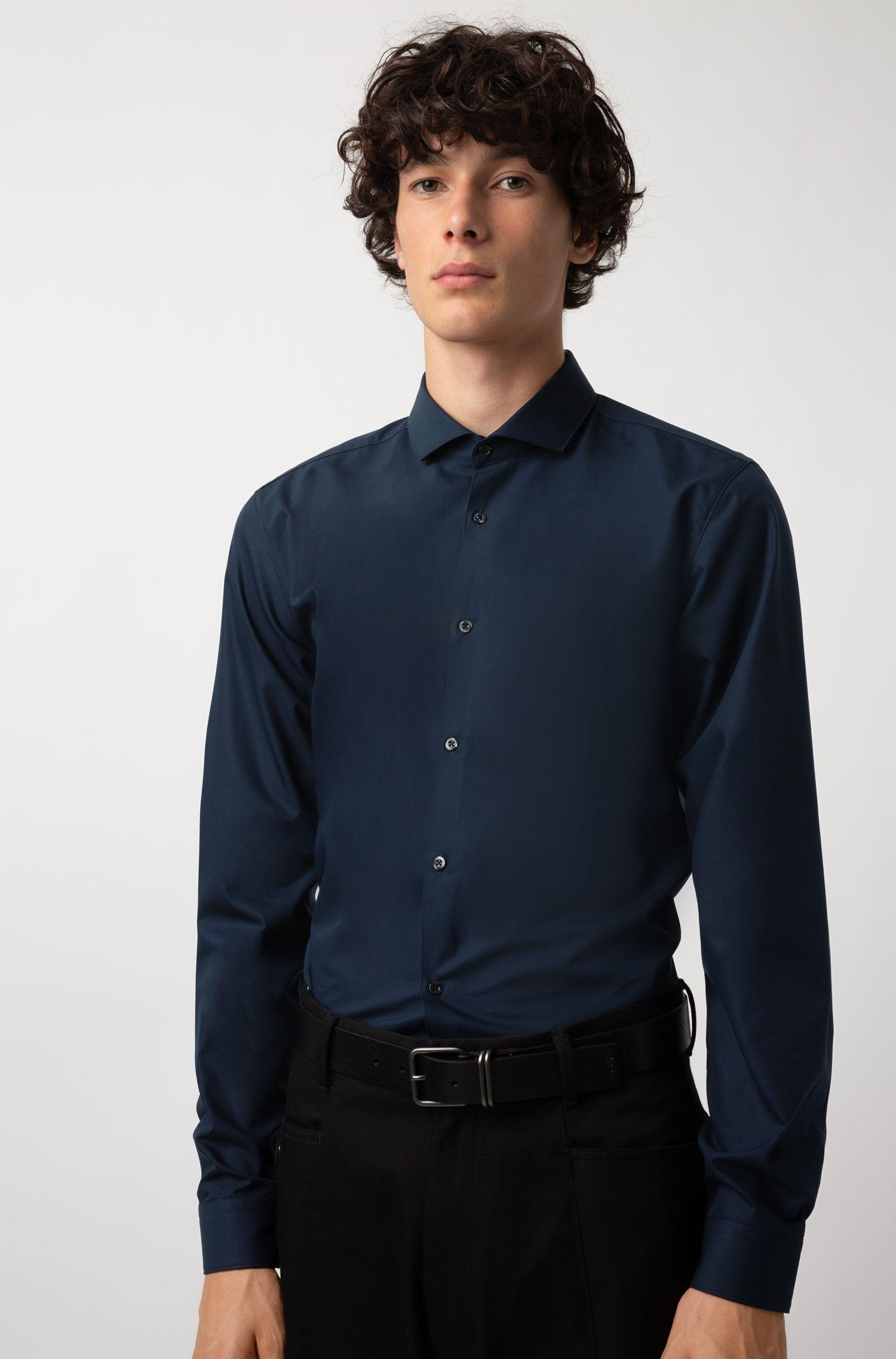 Chemise Extra Slim Fit en popeline de coton, Bleu foncé