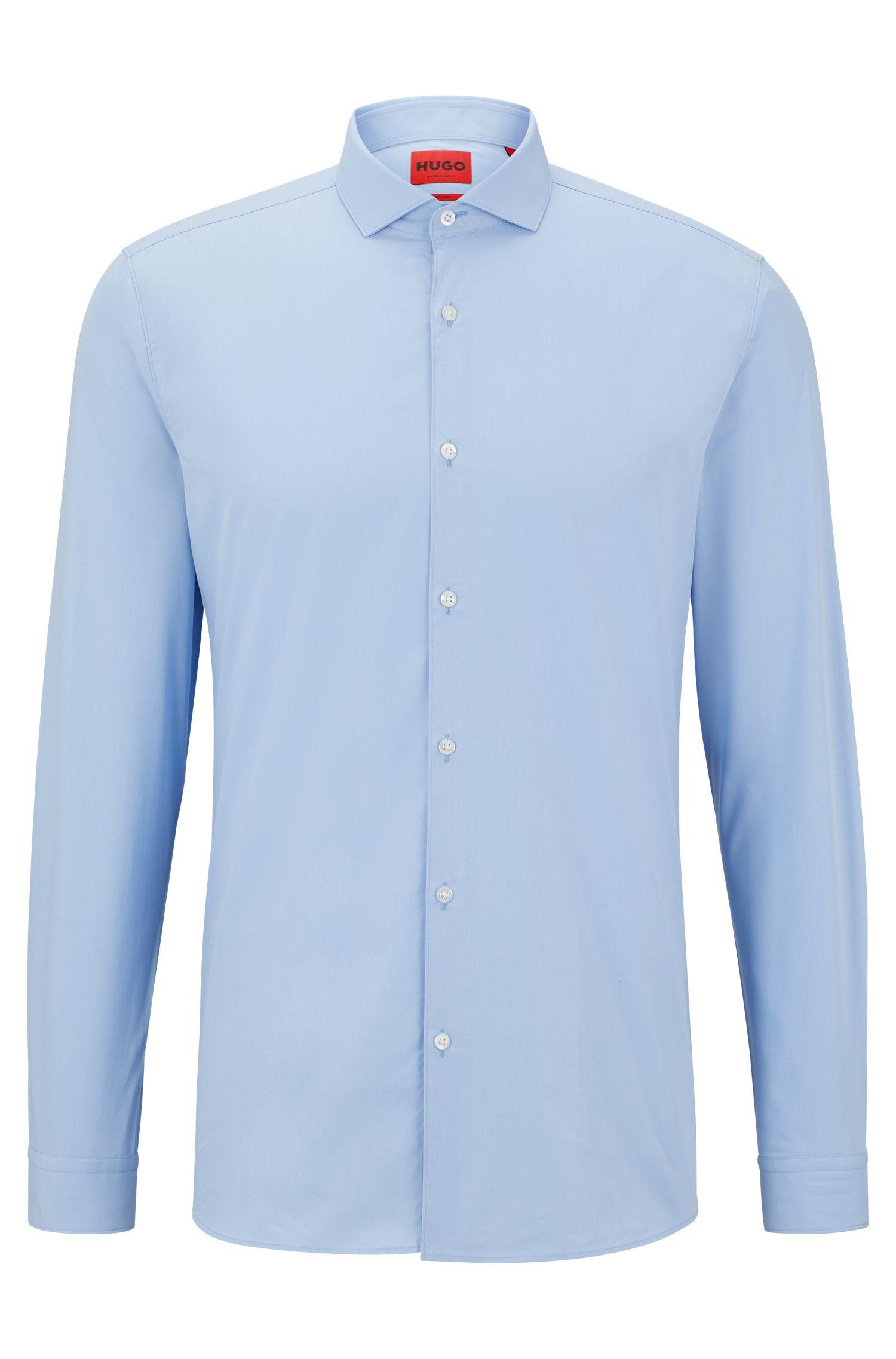 Extra Slim-Fit Hemd aus Baumwoll-Popeline, Hellblau