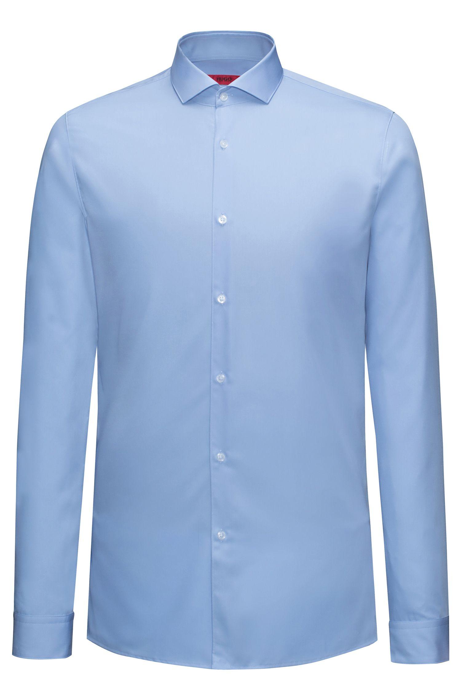 Camicia extra slim fit in popeline di cotone, Celeste