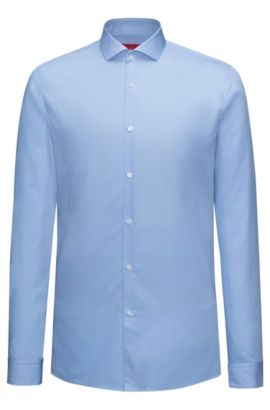 Extra-slim-fit shirt in cotton poplin, Light Blue