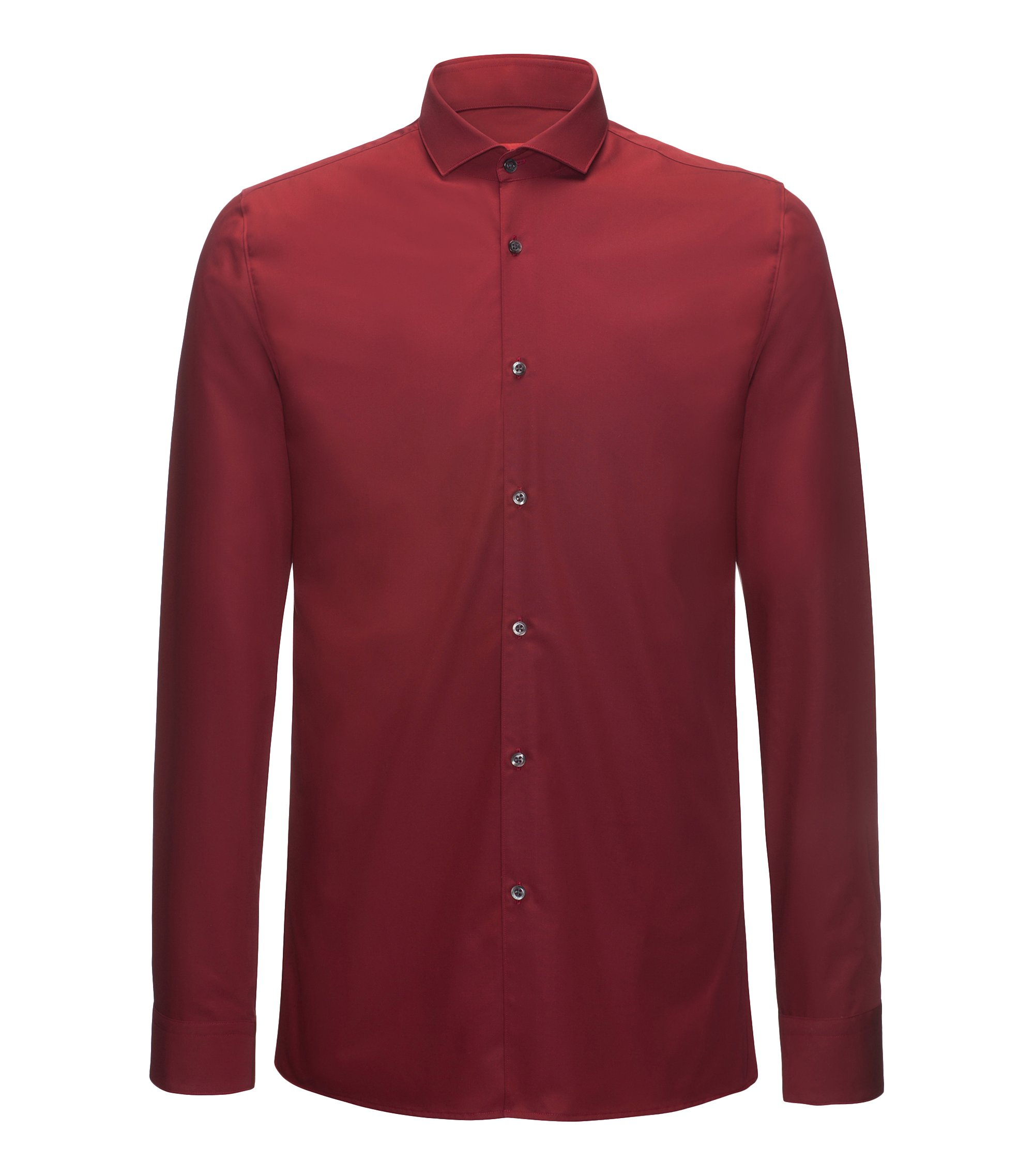 Extra-slim-fit shirt in cotton poplin, Dark Red