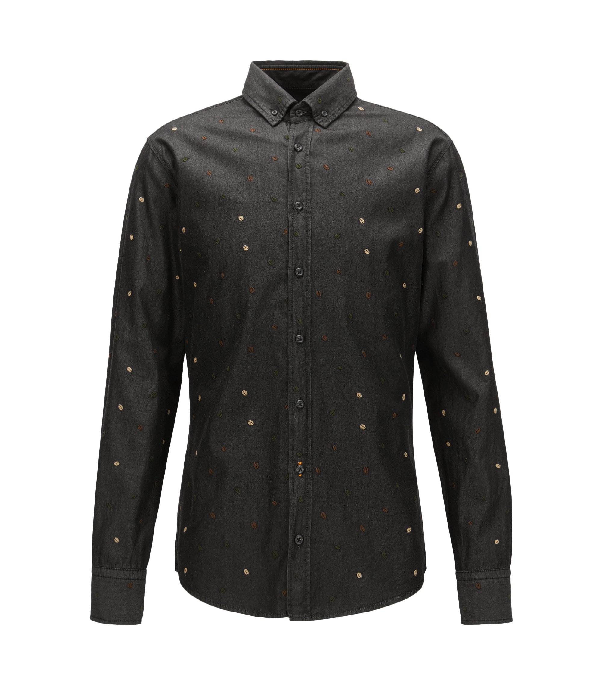 Slim-fit embroidered shirt in enzyme-washed black denim, Black