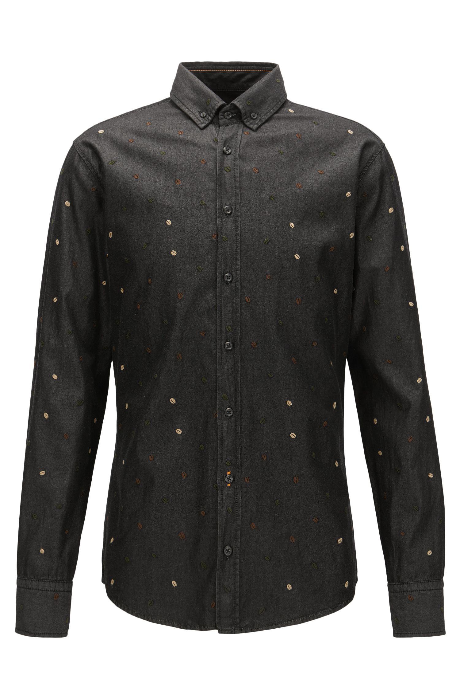 Slim-fit, gestikt overhemd van zwart denim met enzymwassing