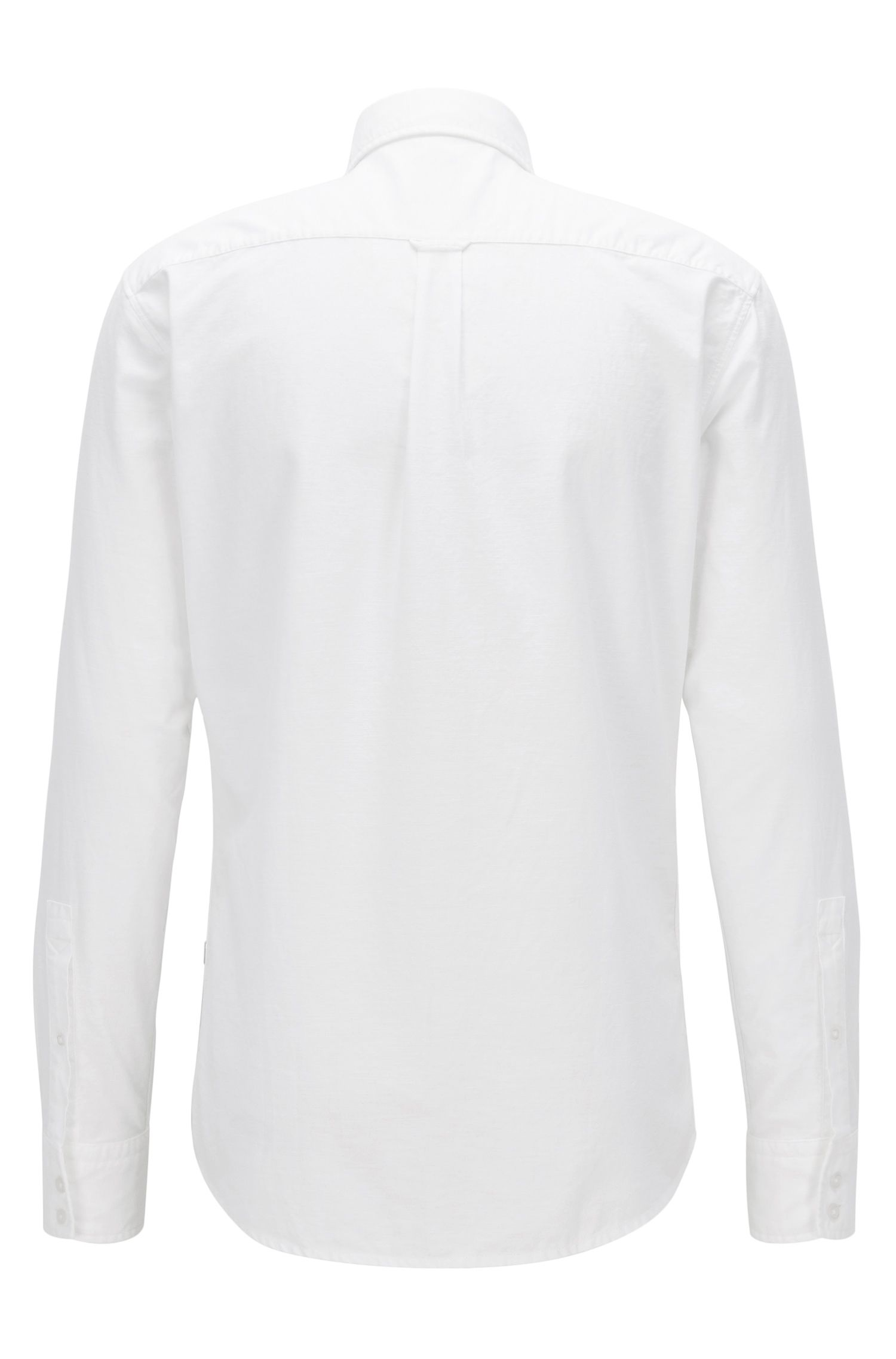 Camisa slim fit en algodón Oxford cepillado, Blanco