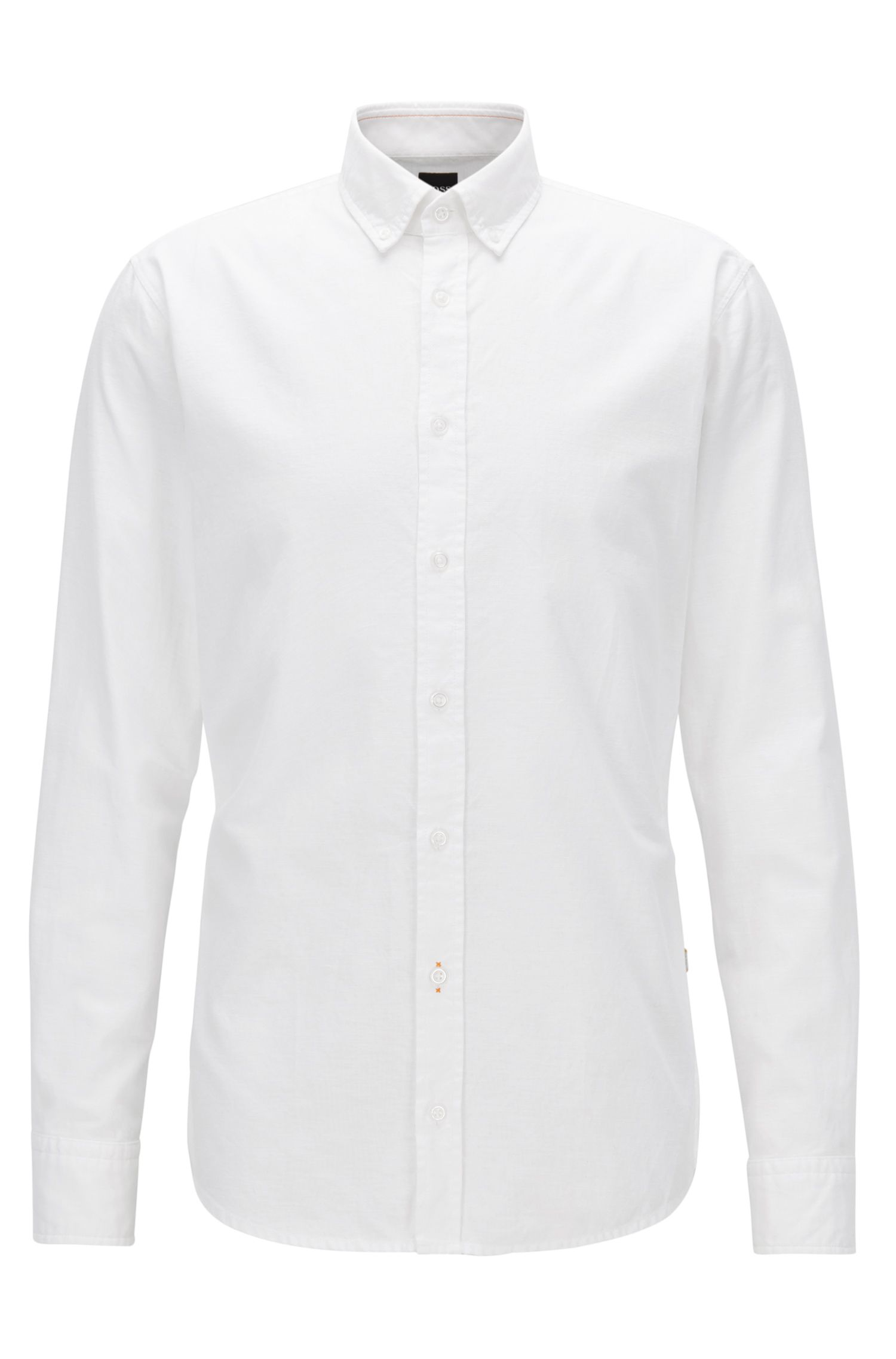 Peached cotton Oxford shirt in a slim fit, White