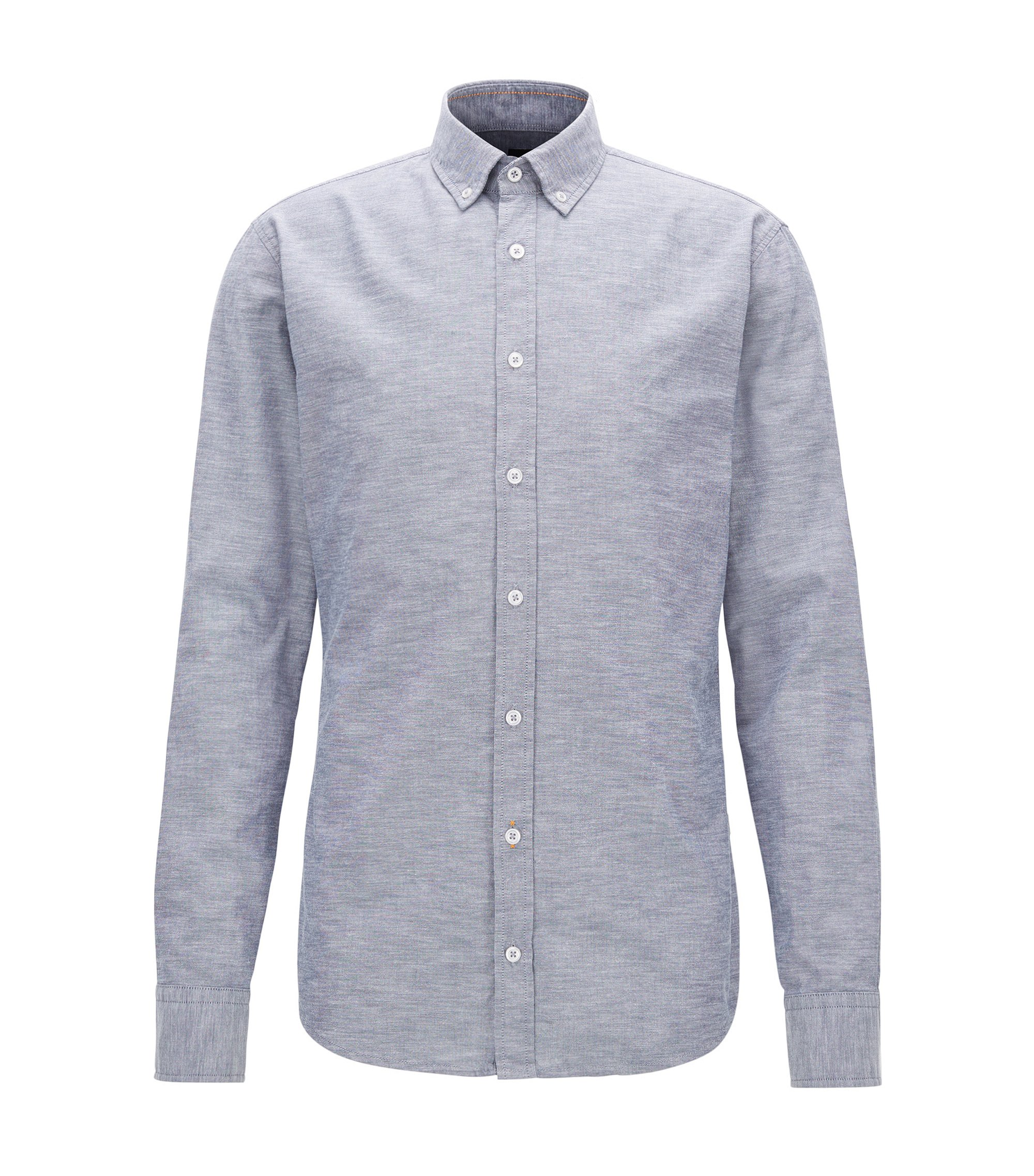 Peached cotton Oxford shirt in a slim fit, Blue