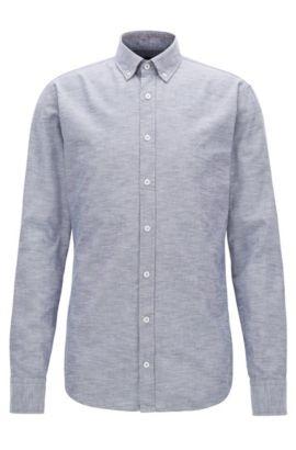 Slim-Fit Hemd aus angerauter Oxford-Baumwolle, Hellblau