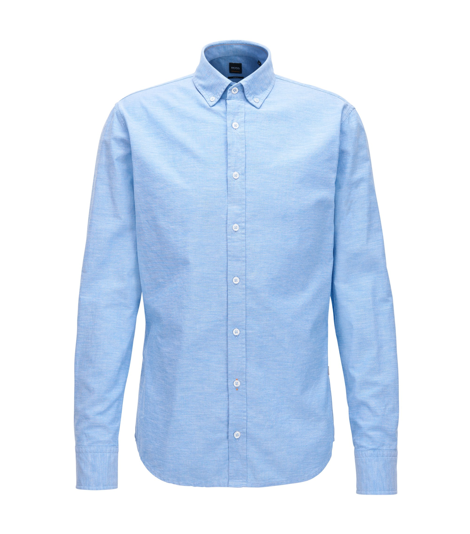 Camicia stile oxford slim fit in cotone manopesca, Celeste