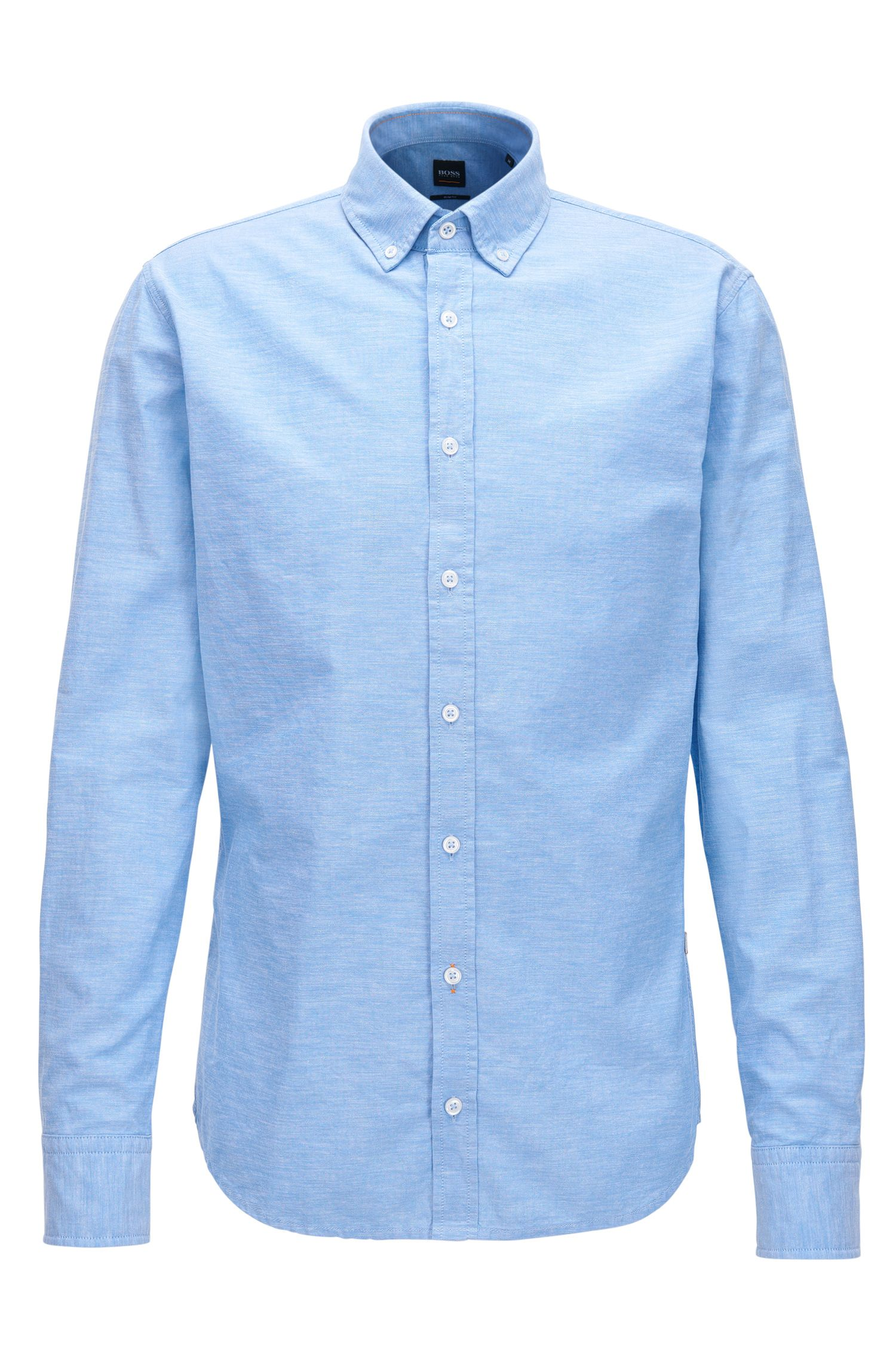 Peached cotton Oxford shirt in a slim fit, Light Blue