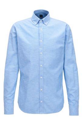 Camisa slim fit en algodón Oxford cepillado, Azul oscuro