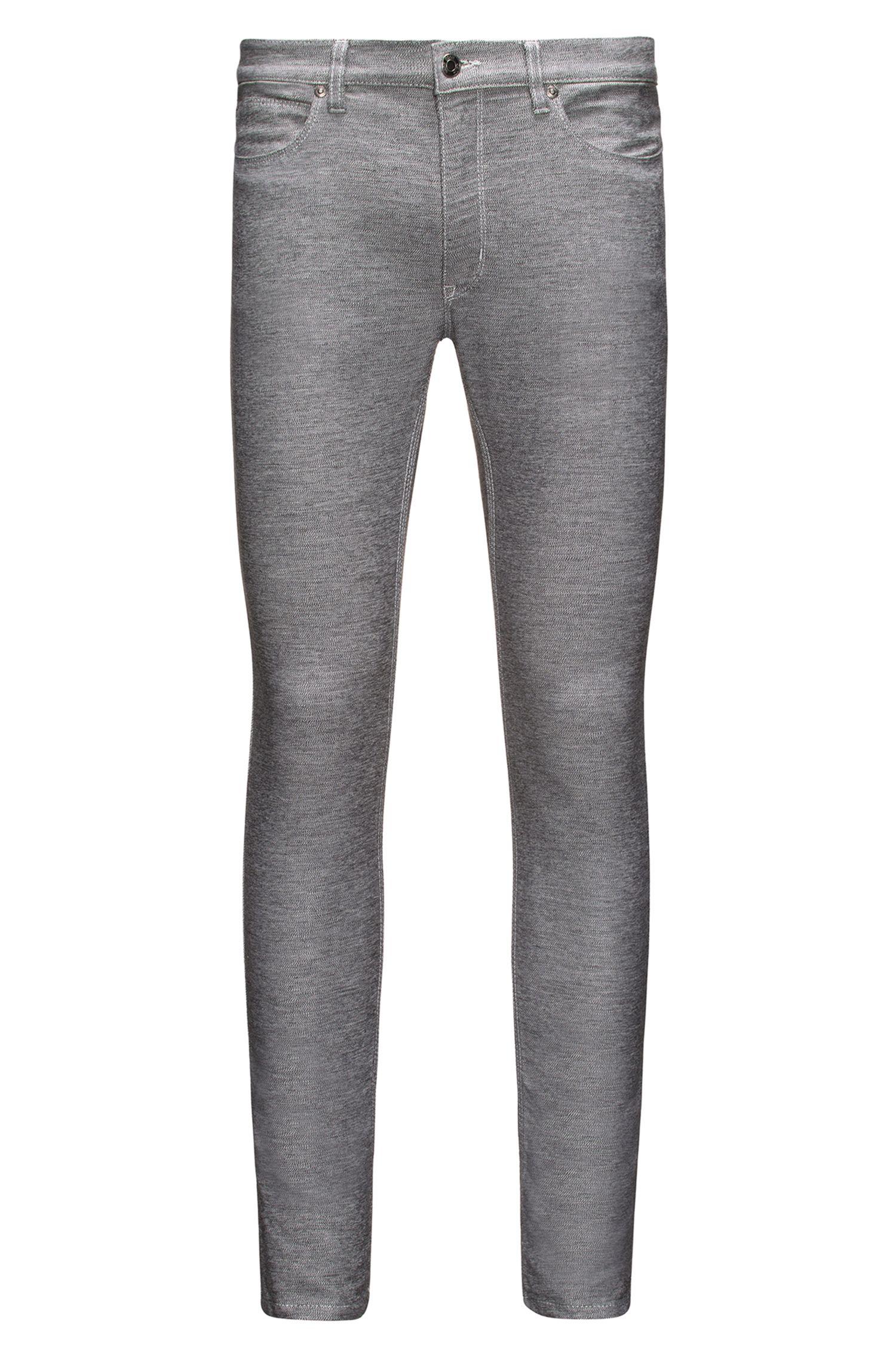 Skinny-fit jeans van donkergrijs stretchdenim