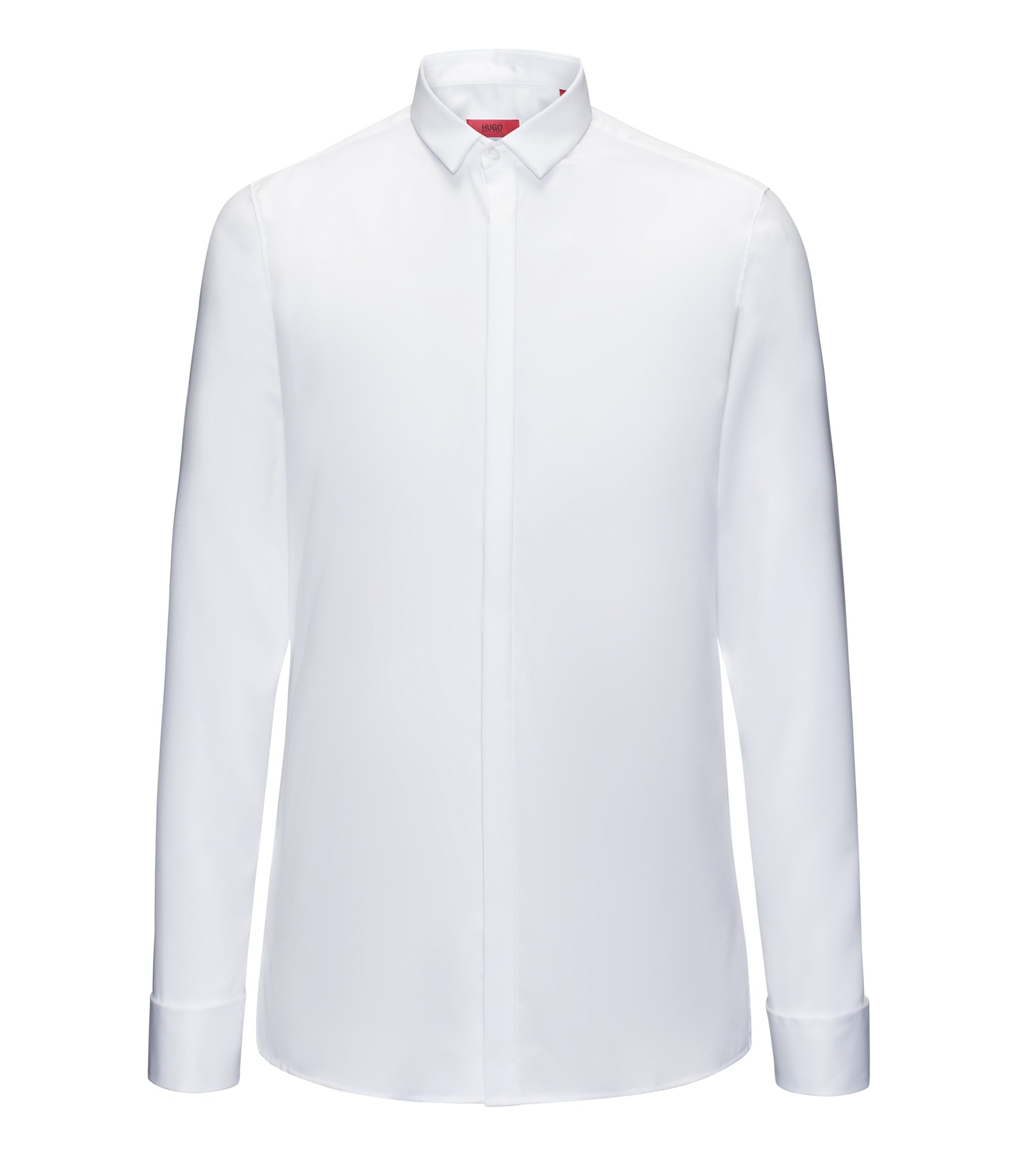 Camicia da smoking extra slim fit in cotone a righe diagonali, Bianco