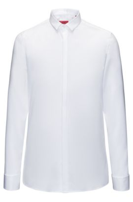 Extra-slim-fit evening shirt in diagonal-striped cotton, Open White