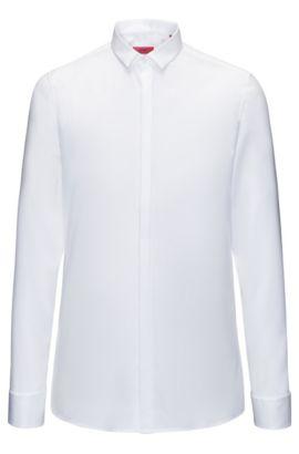 Diagonal gestreiftes Extra Slim-Fit Smoking-Hemd aus Baumwolle, Weiß