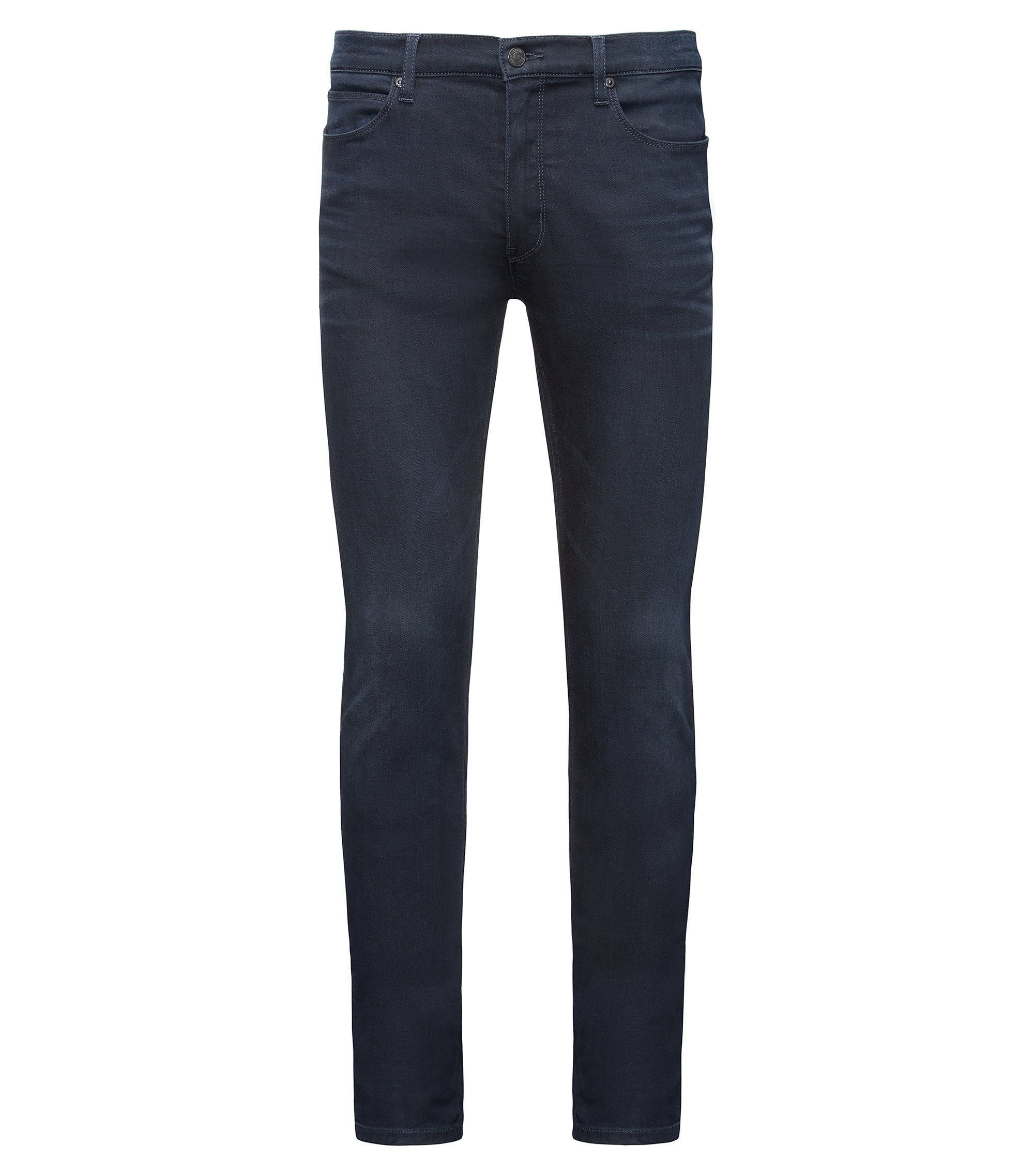 Jeans Skinny Fit en denim stretch confortable, de teinte bleu-noir, Bleu