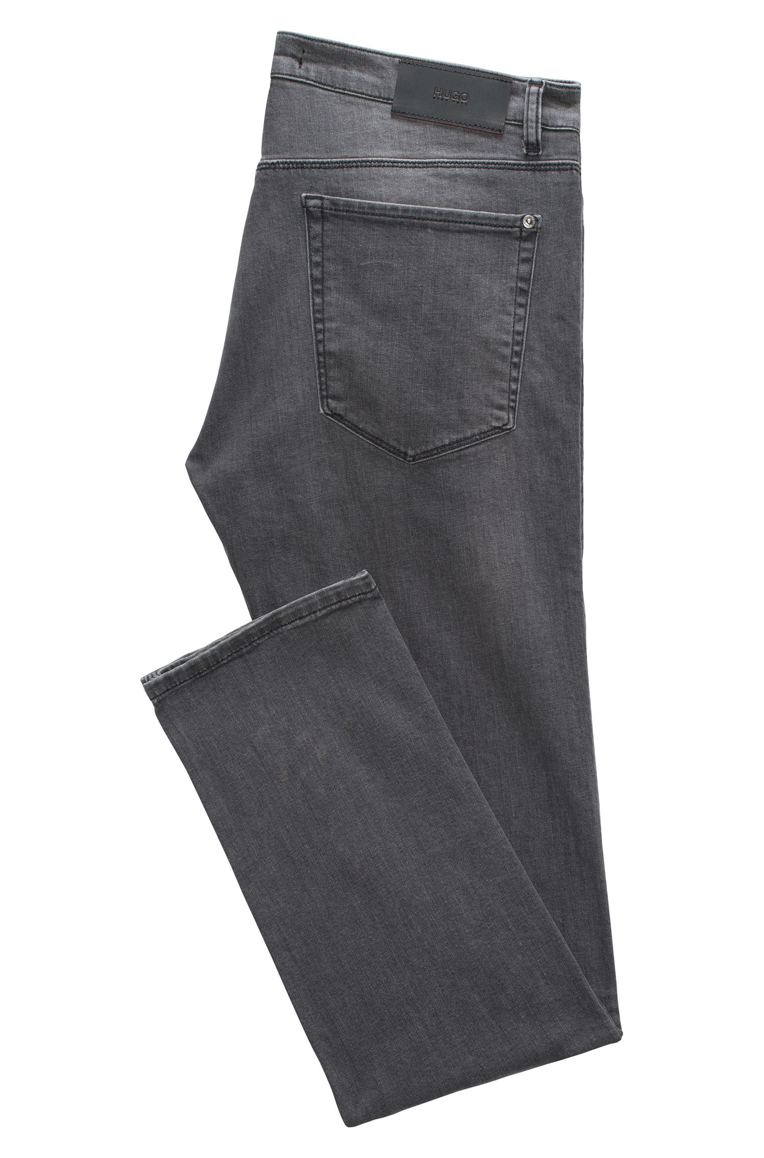 Jeans Slim Fit en denim stretch confortable gris stone-washed