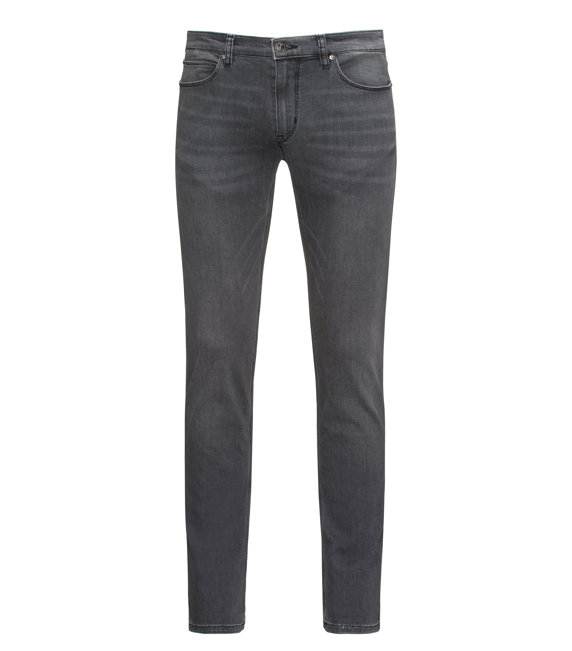Jeans Slim Fit en denim stretch confortable gris stone-washed, Gris sombre