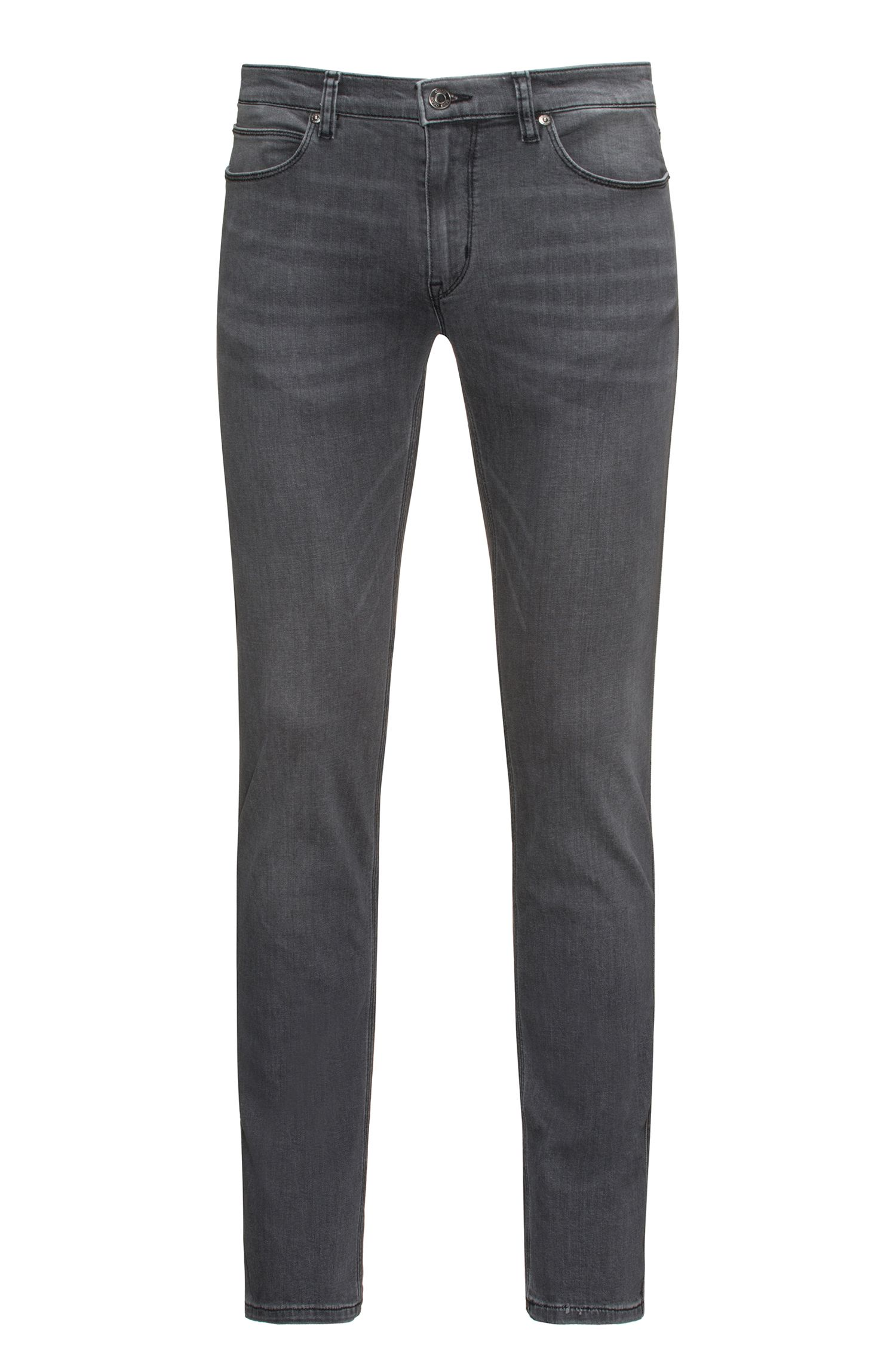 Slim-fit jeans in grey stone-washed comfort-stretch denim