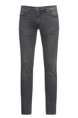 Slim-fit jeans in grey stone-washed comfort-stretch denim, Dark Grey