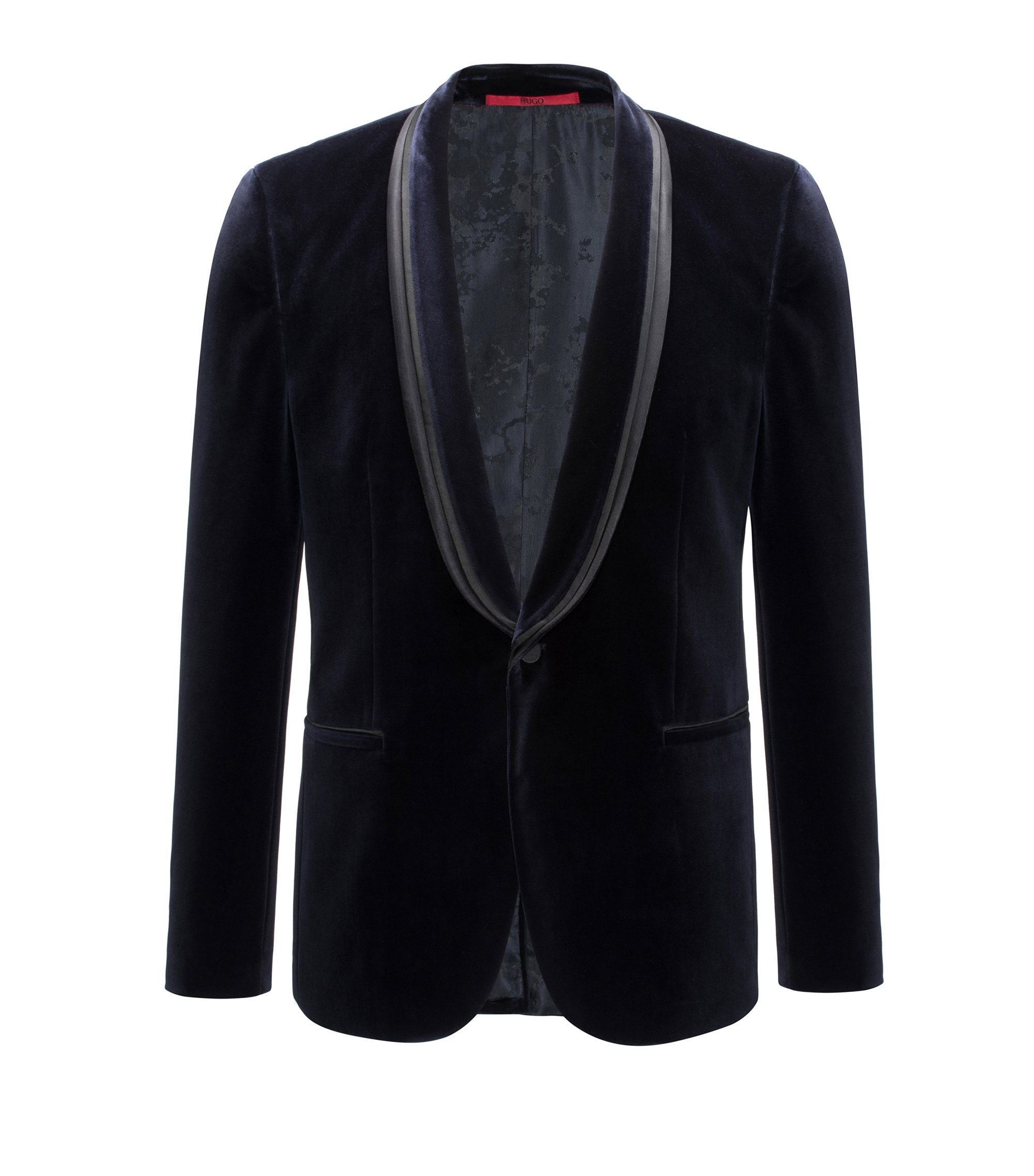 Cotton jacket in an extra-slim fit, Dark Blue