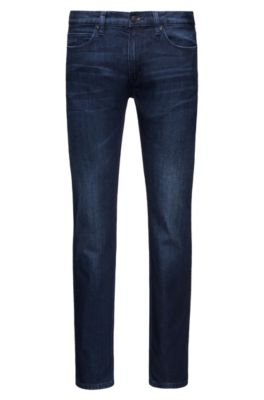 Slim-fit stonewashed blue jeans in comfort-stretch denim, Blue