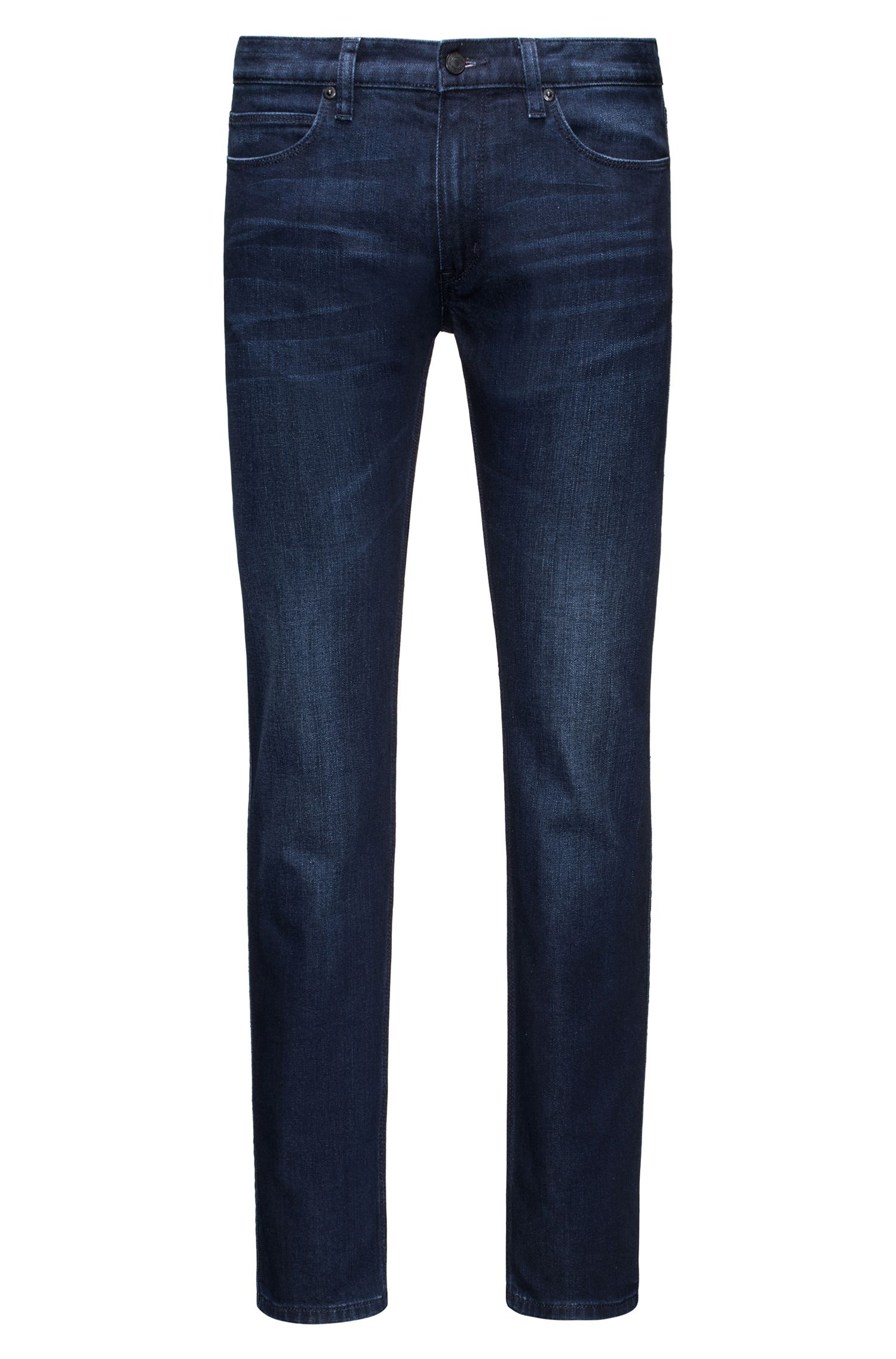 Slim-fit stonewashed blauwe jeans van comfortabel stretchdenim