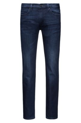 Jean Slim Fit stone-washed en denim stretch confortable, Bleu