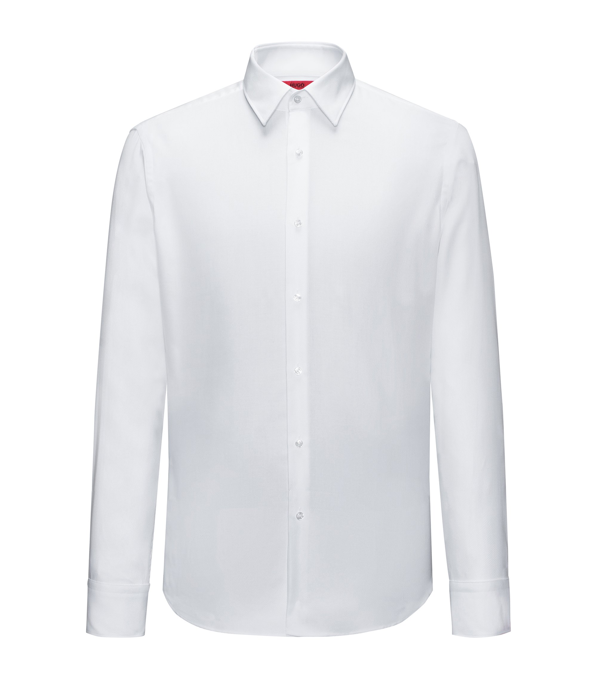 Regular-fit easy-care shirt in structured cotton, White