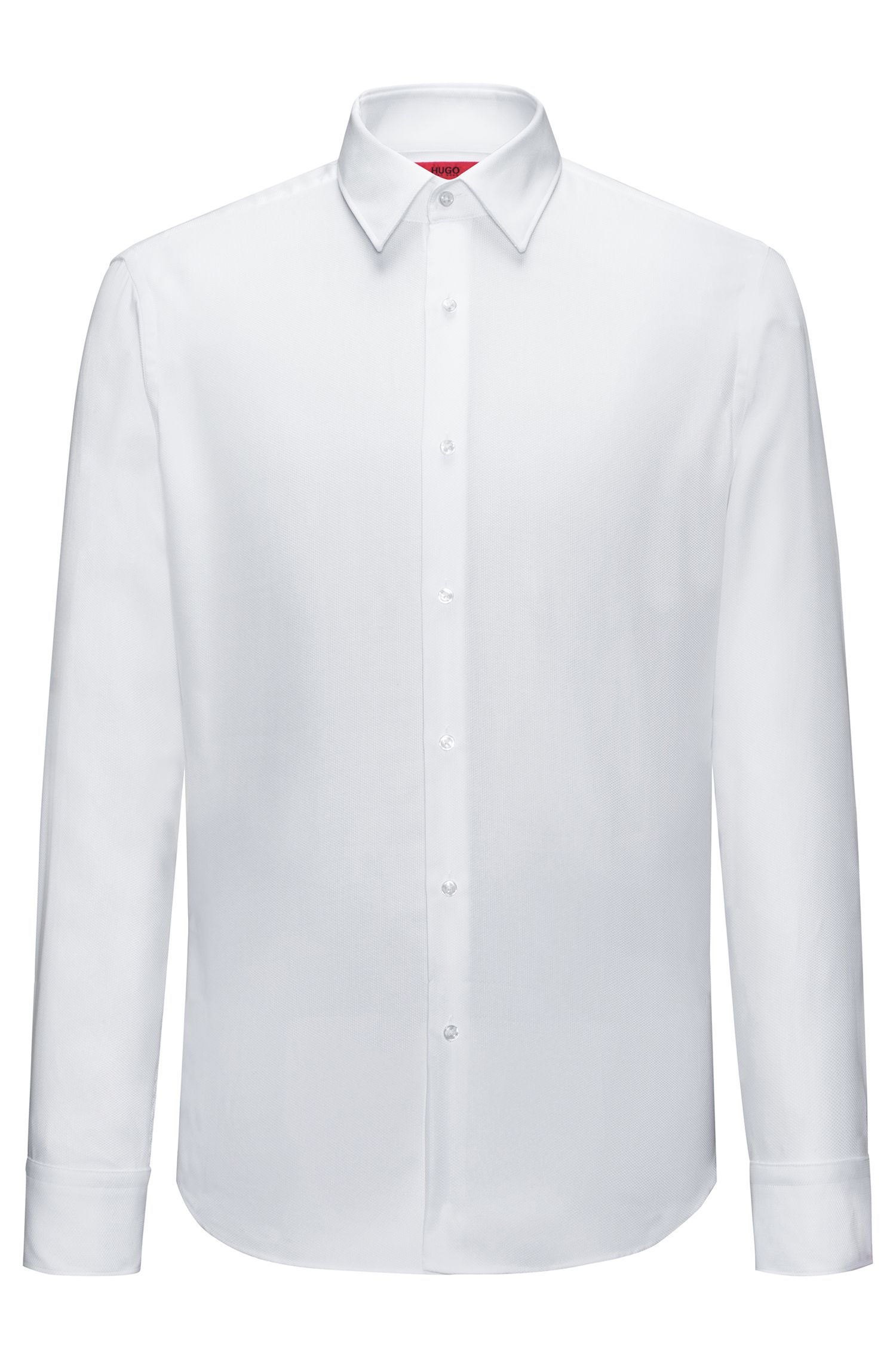Regular-fit easy-care shirt in structured cotton