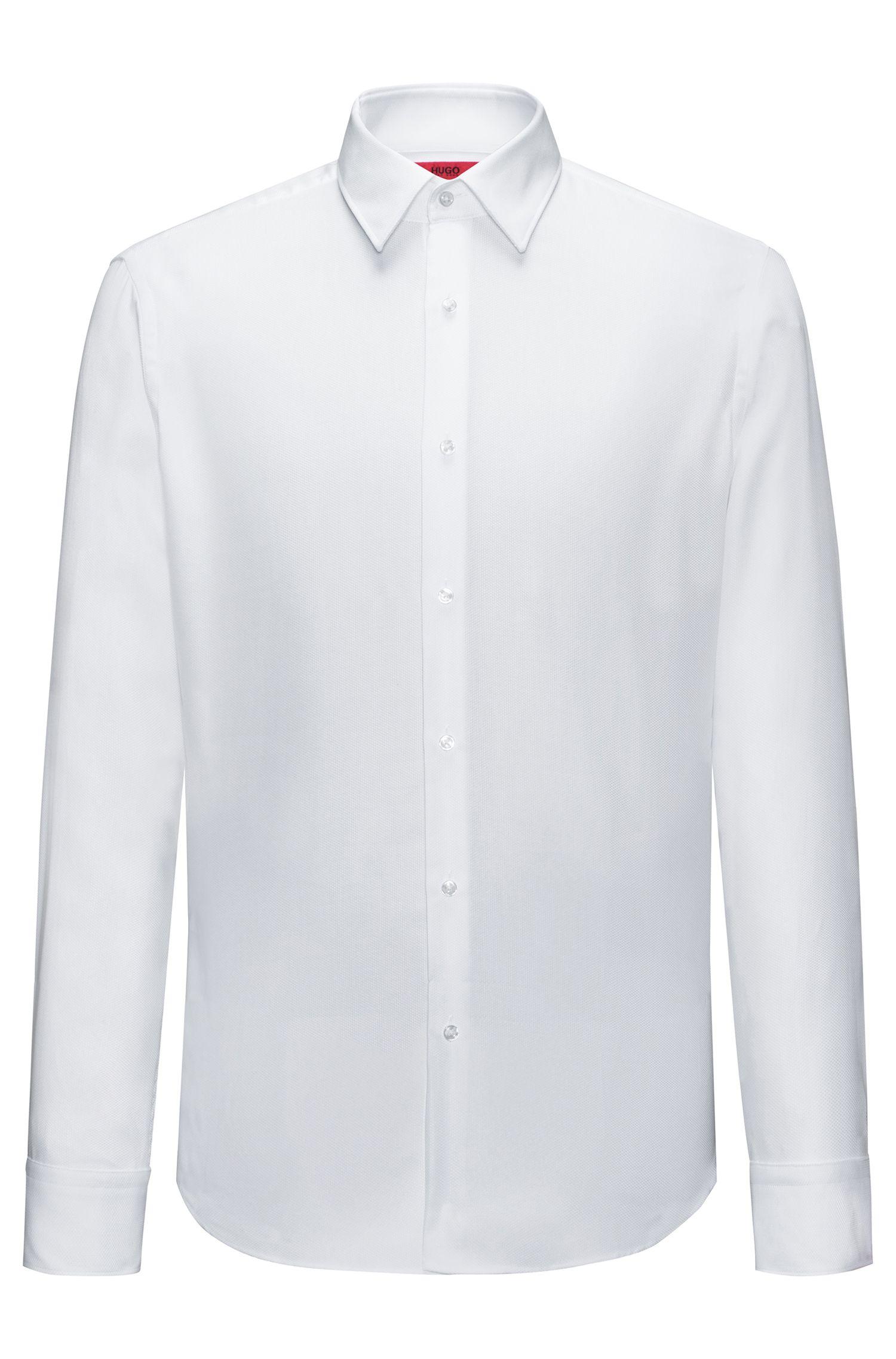 Regular-Fit Hemd aus bügelleichter Baumwolle mit Struktur