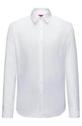 Regular-Fit Hemd aus bügelleichter Baumwolle mit Struktur, Weiß