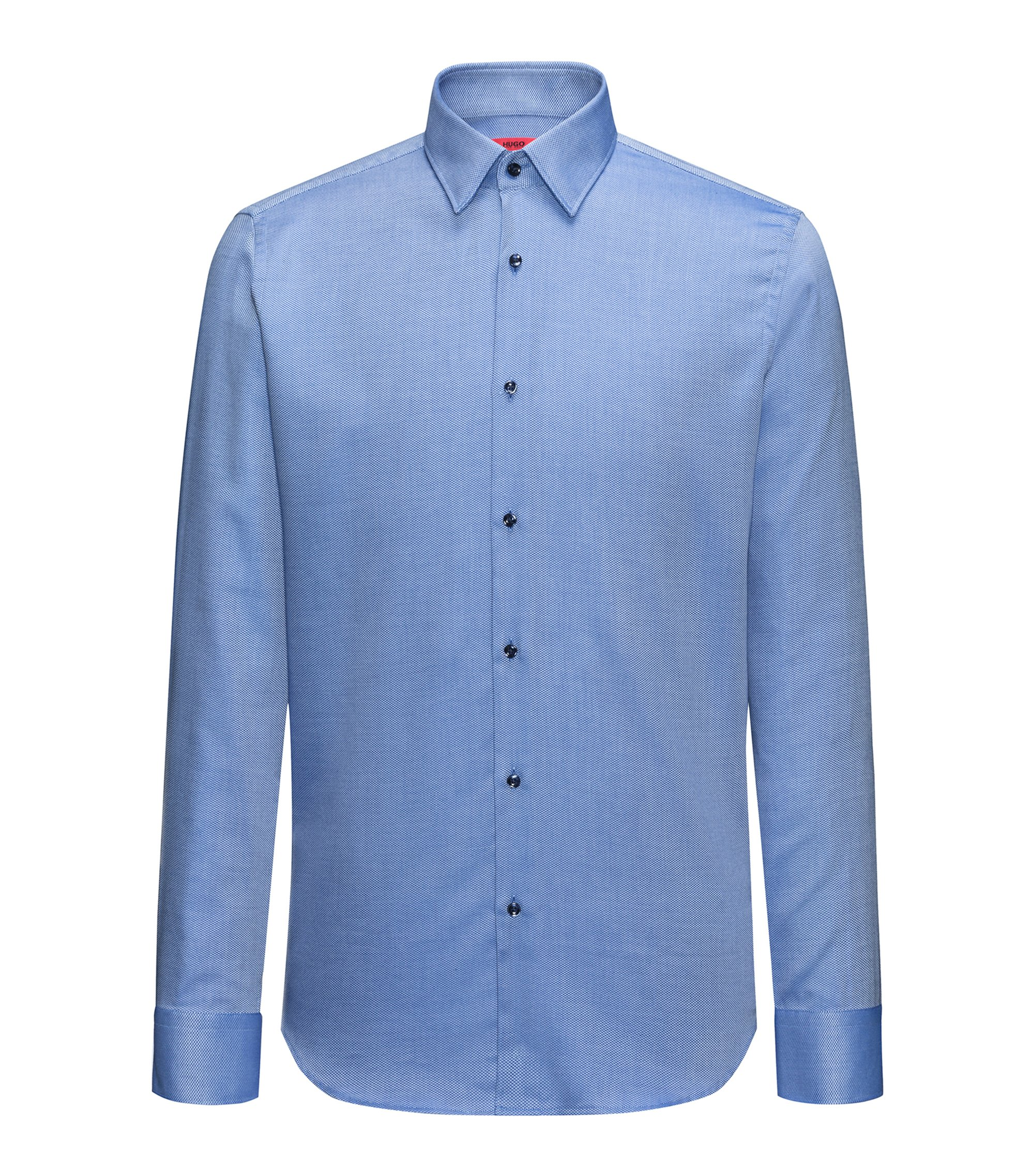 Regular-fit easy-care shirt in structured cotton, Blue
