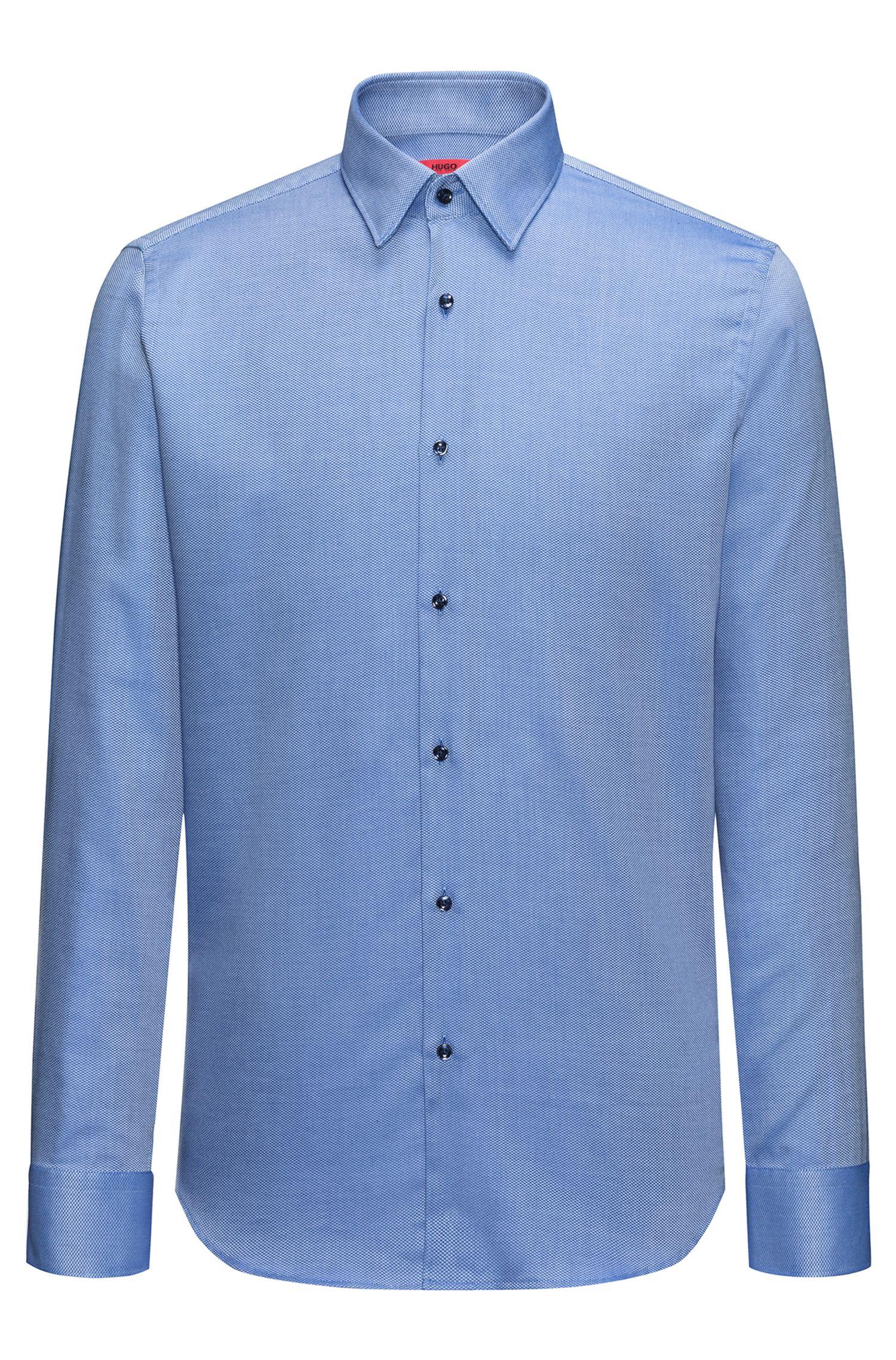 Onderhoudsvriendelijk regular-fit overhemd van gestructureerde katoen