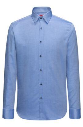 Camisa regular fit de algodón con textura de fácil mantenimiento, Azul