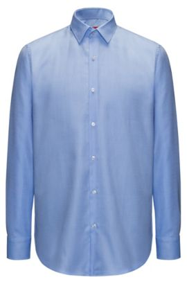 Regular-fit easy-care shirt in structured cotton, Light Blue