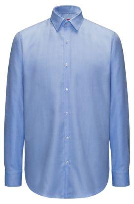 Regular-Fit Hemd aus bügelleichter Baumwolle mit Struktur, Hellblau