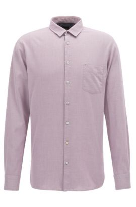 Slim-fit shirt in micro-structure cotton, Light Red
