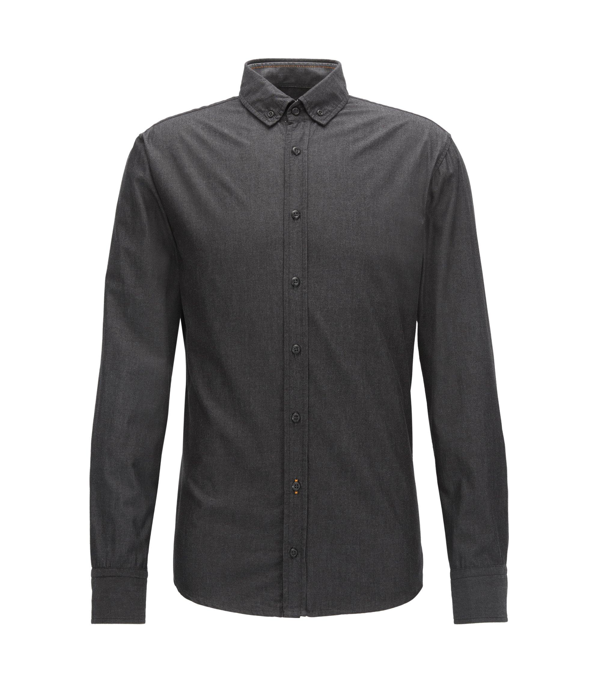 Slim-fit overhemd van garengeverfde, gewassen katoen , Zwart