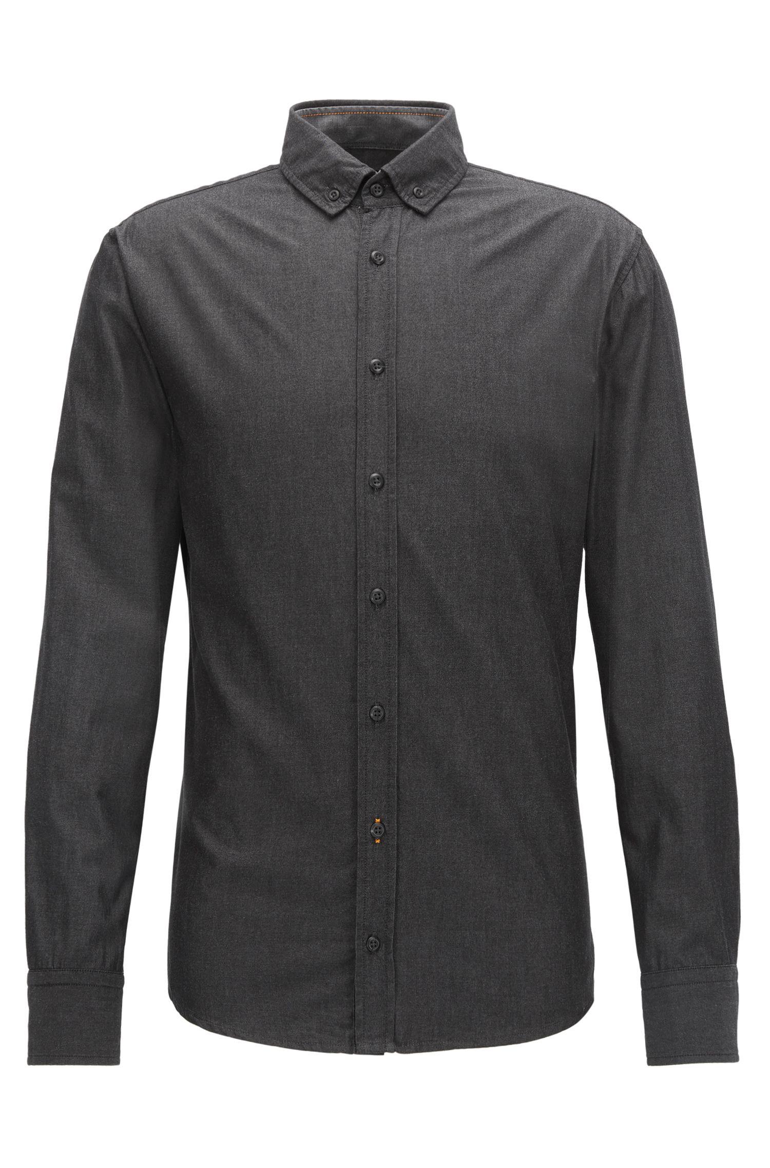 Slim-fit overhemd van garengeverfde, gewassen katoen