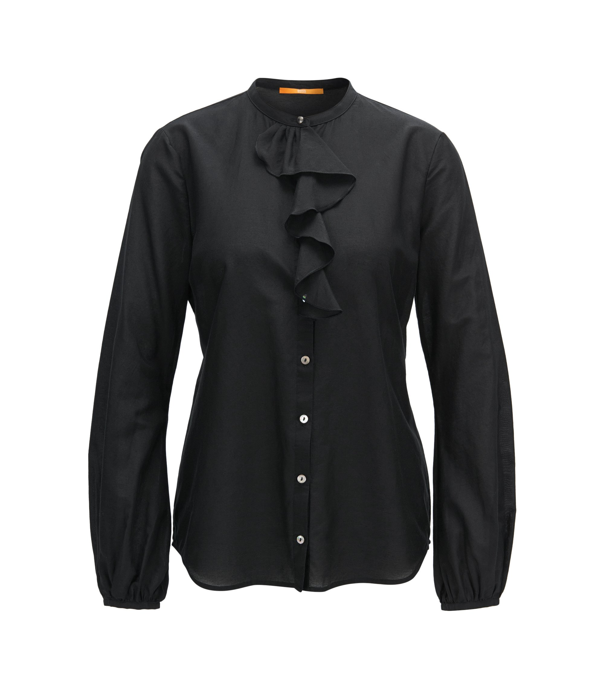 Regular-fit cotton-blend shirt with ruffle trim, Black