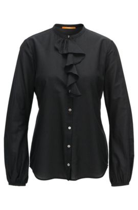 Camicia regular fit in misto cotone con ruche, Nero