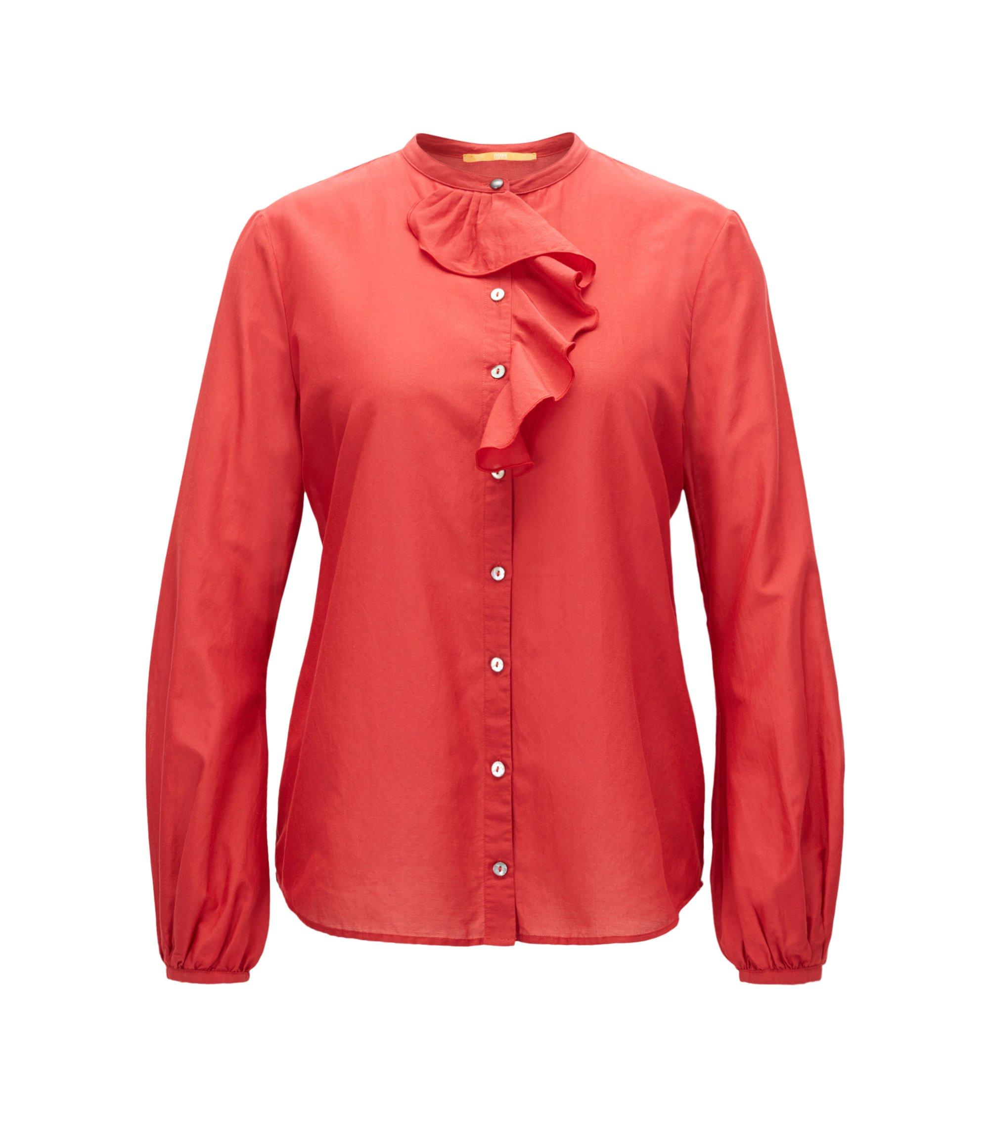 Camisa regular fit en mezcla de algodón con ribete de volante, Rojo