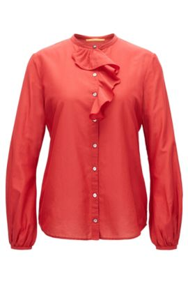 Regular-fit cotton-blend shirt with ruffle trim, Red