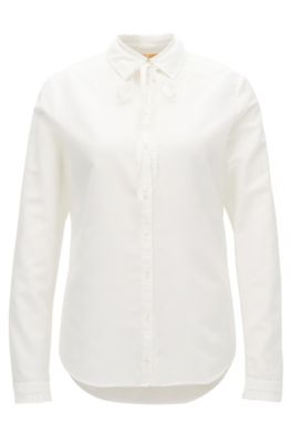 Blusa regular fit en mezcla de algodón con detalle de volante, Natural
