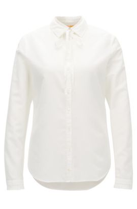 Regular-fit blouse van een katoenmix met ruchedetail, Naturel