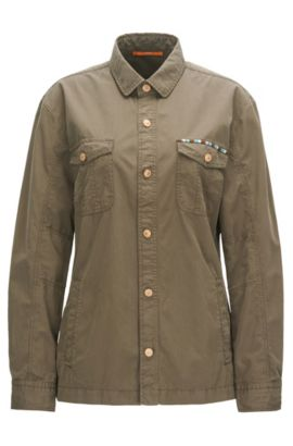Regular-fit embellished shirt in cotton, Khaki